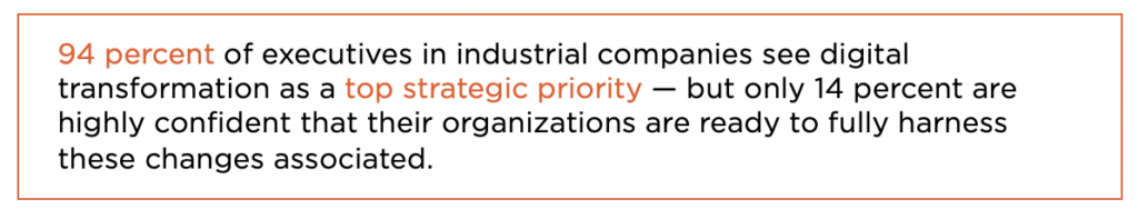 94 percent of executives in industrial companies see digital transformation as a top strategic priority - but only 14 percent are highly confident that their organizations are ready to fully harness these changes associated.