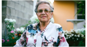 Older lady in a flowery blouse