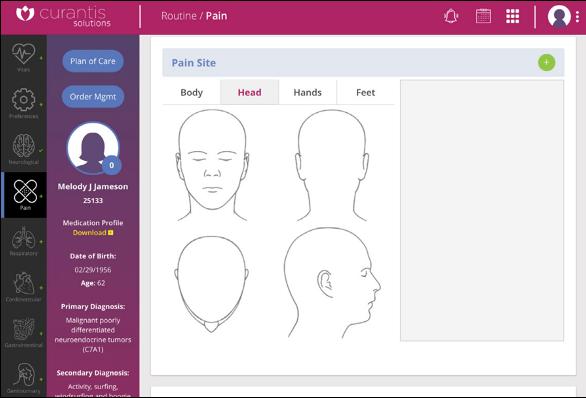 Screenshot of patient care web application