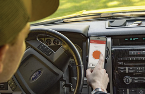 commercial driver mobile safety application button